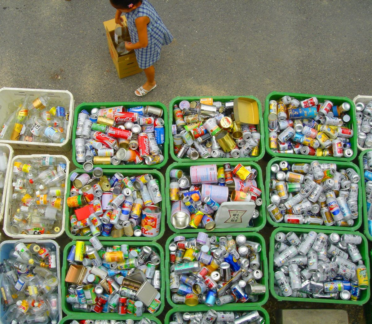 Aerial photo of recycling materials in bins.