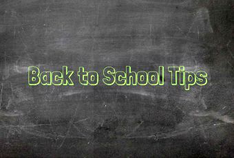 """Graphic of chalkboard with words """"Back to School Tips"""" written in chalk."""