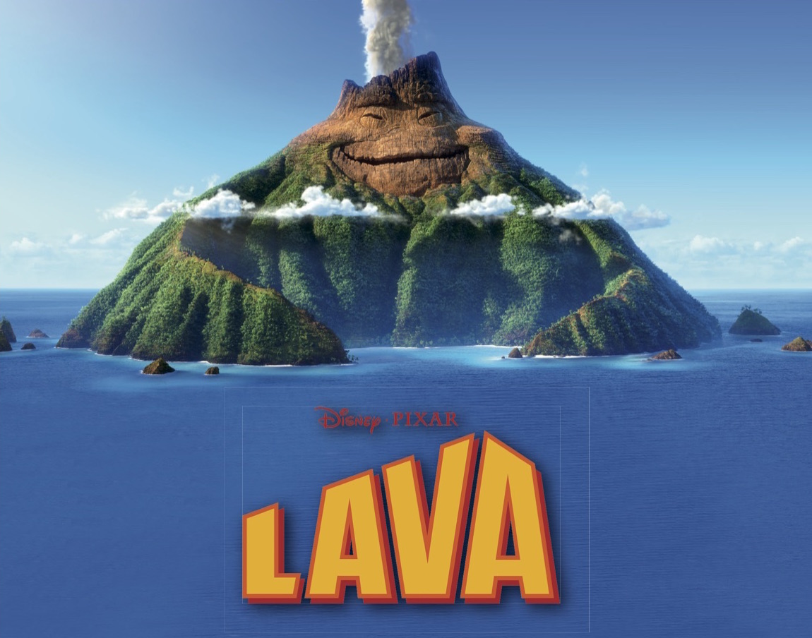 Movie poster for Lava showing animated graphic of island with face.
