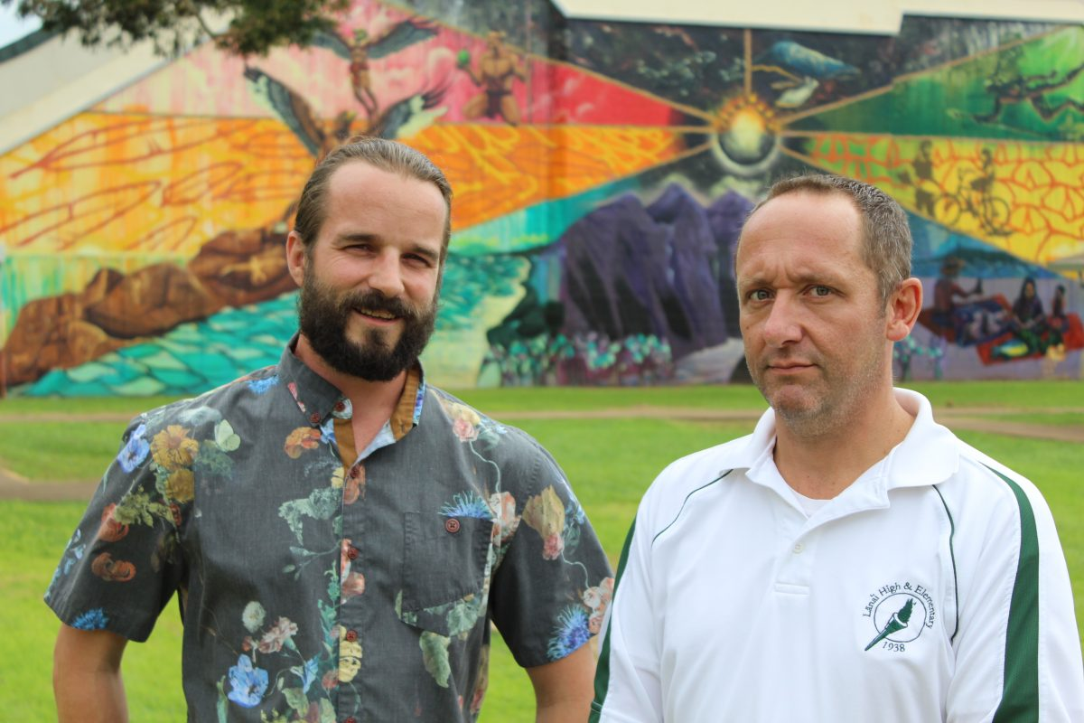 Photo of Lanai teachers Don Jones and Jared Savage in front of LHES mural.
