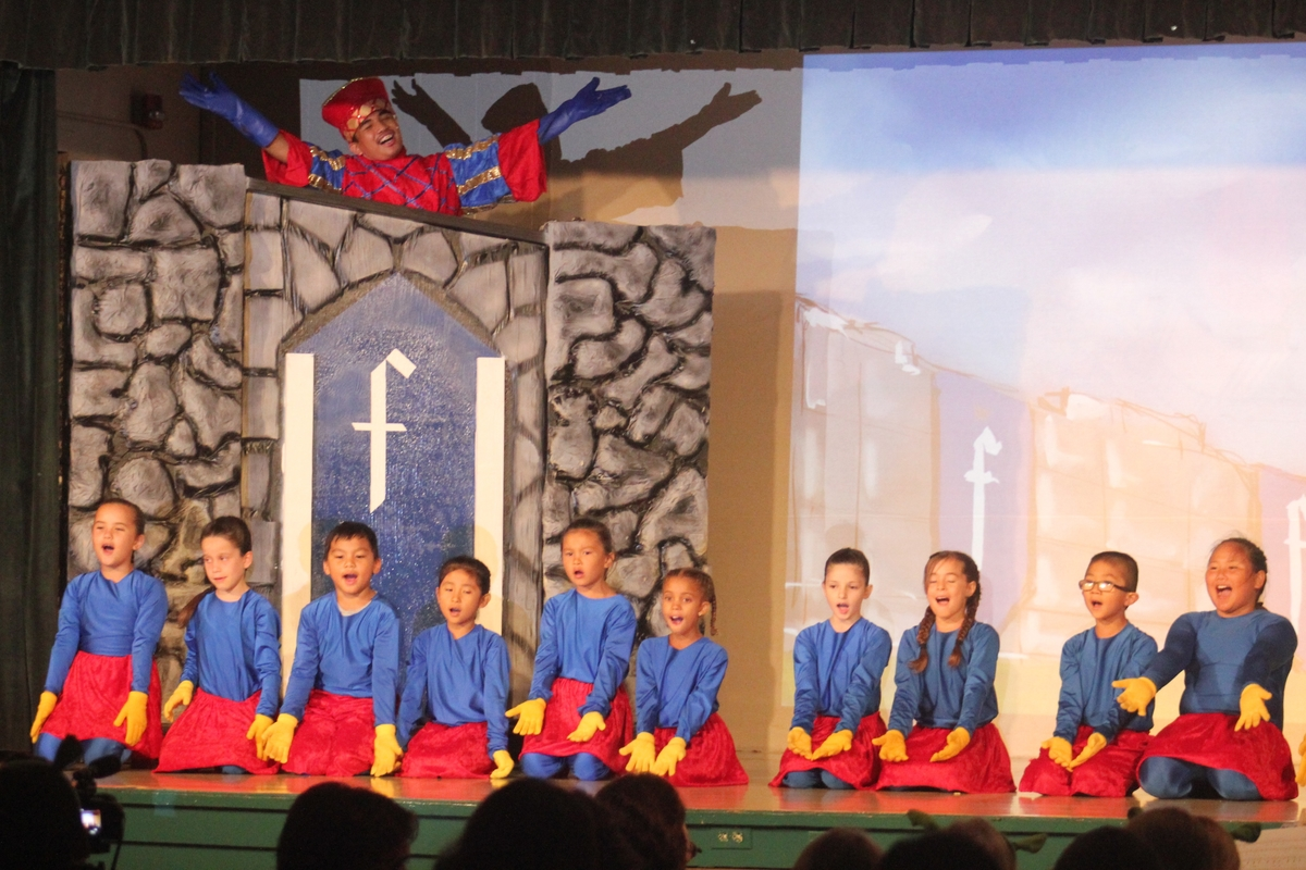 Photo of Lanai children actors in costume performing Shrek musical number onstage.
