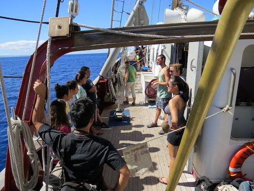 Photo of Lanai students on boat.