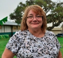 Photo of Pam Hagan on campus at Lanai school.