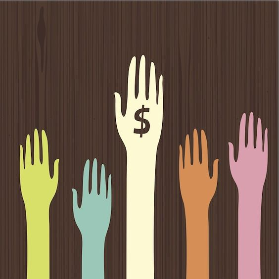 Graphic of hands raised with one hand containing dollar sign on palm.