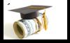 Graphic of graduation cap sitting on top of roll of dollar bills.