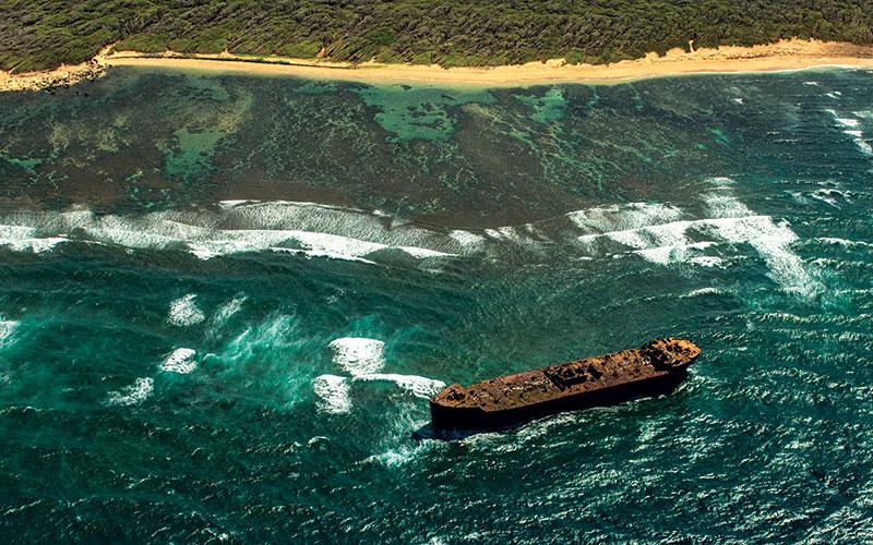 Aerial photo of Shipwreck Beach on Lanai.
